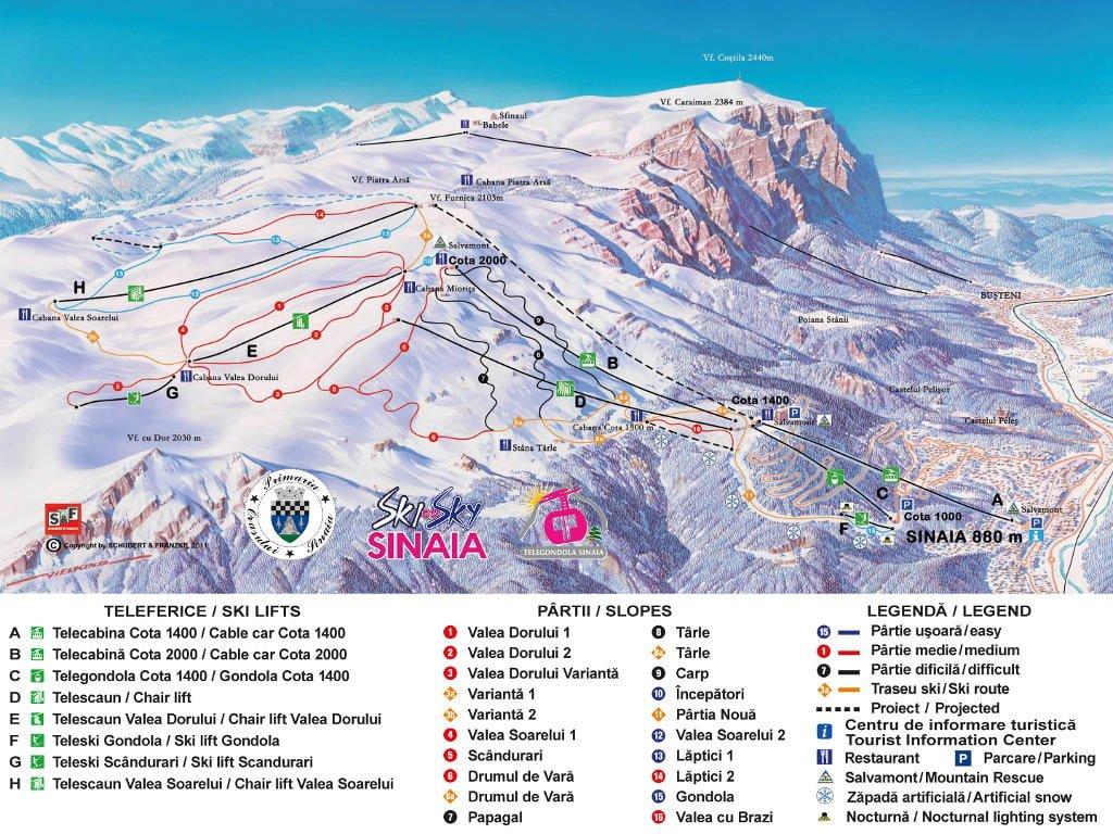 Harta partii de schi Sinaia